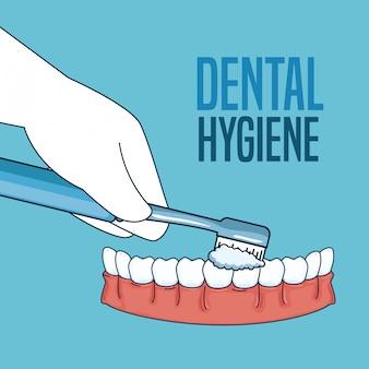 Tratamiento de higiene dental con cepillo de dientes.