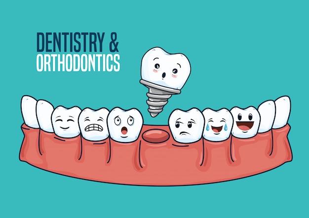 Tratamiento de odontología y equipos para el cuidado de los dientes.
