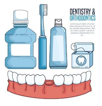 Tratamiento odontológico y herramientas sanitarias dentales
