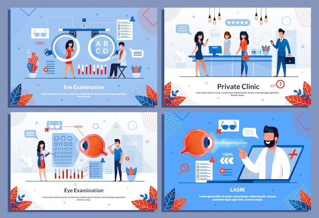 Tratamiento de los ojos clínica privada conjunto de pancartas médicas