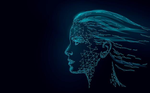 Tratamiento de la piel con láser de baja poli rostro humano femenino. procedimiento de rejuvenecimiento cuidado de salón de belleza. clínica medicina cosmetología tecnología de innovación.