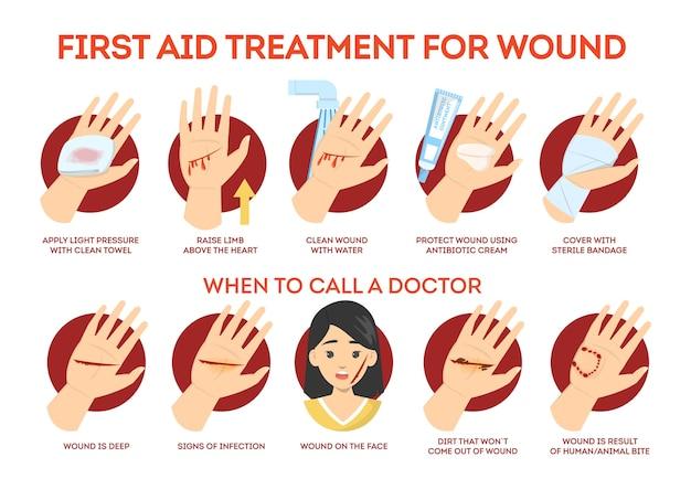 Tratamiento de primeros auxilios para heridas en la piel. situación de emergencia