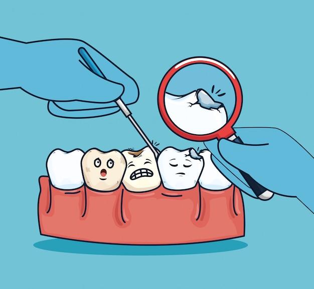 Tratamiento sanitario de los dientes y lupa