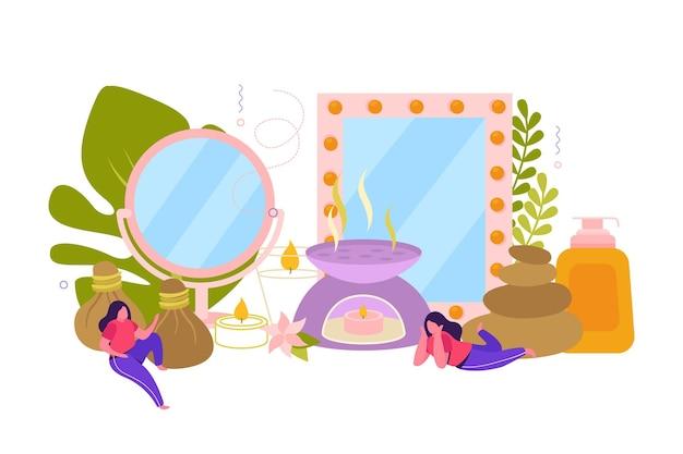Tratamiento de spa con ingredientes y elementos decorativos.