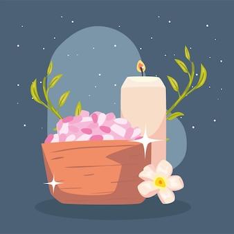 Tratamiento spa con velas aromáticas y sales minerales