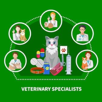 Tratamientos especializados veterinarios composición de iconos planos con accesorios de medicación para gatos productos para el cuidado de mascotas impresión de la pata