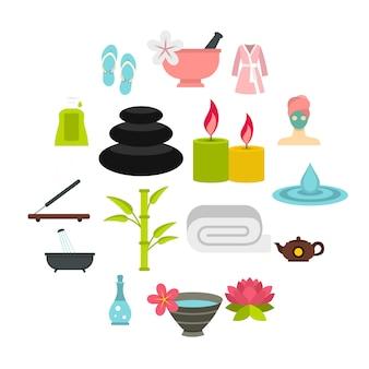 Tratamientos de spa set iconos flat