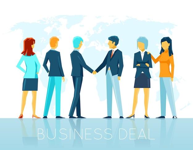 Trato de negocios. acuerdo de trabajo en equipo, gente de asociación, apretón de manos y cooperación. ilustración vectorial