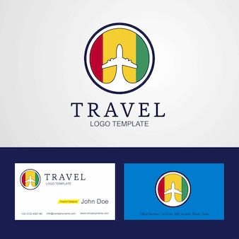 Travel guinea creative flog logotipo y tarjeta