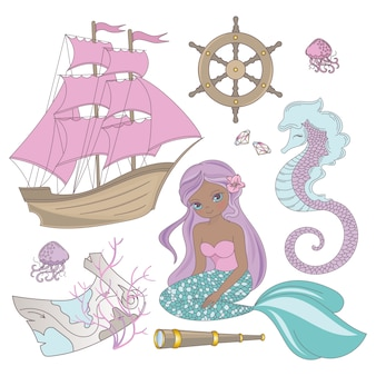 Travel mermaid sea ocean summer cruise