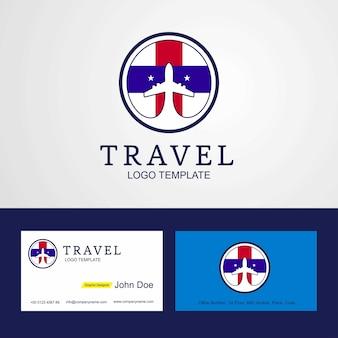 Travel netherlands antilles flog logotipo y tarjeta