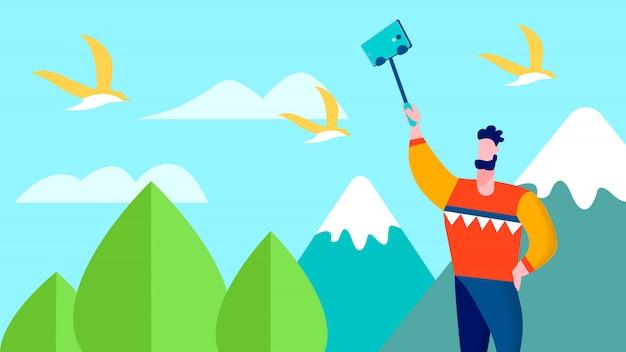Travel selfie on mountains traveller blog