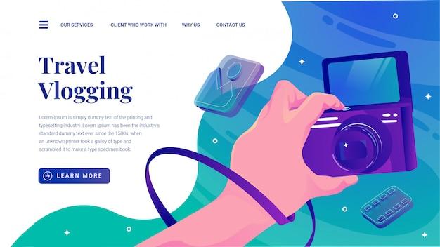Travel vlogging con página de inicio del sitio web de cámara con pantalla invertida