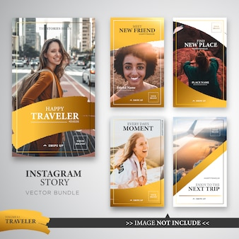 Traveller instagram stories template bundle en color dorado.