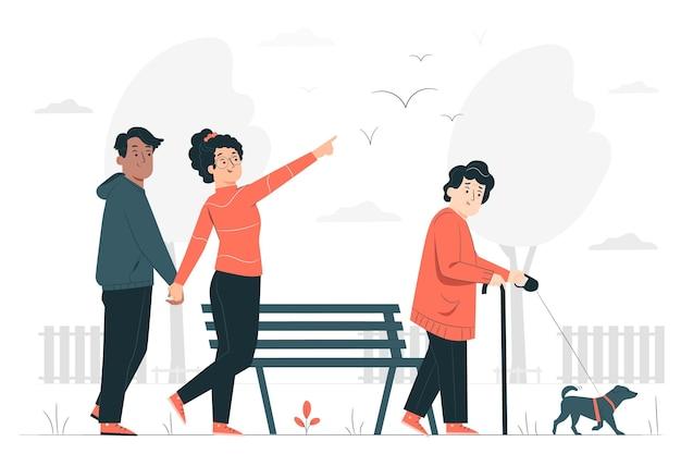A través de la ilustración del concepto de parque.