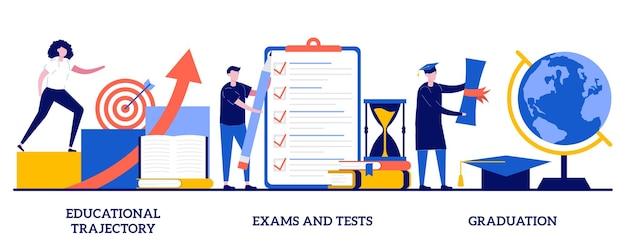 Trayectoria educativa, exámenes y pruebas, ilustración de graduación con personas diminutas
