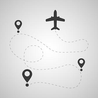 Una trayectoria de vuelo imaginaria de un avión con líneas de puntos y alfileres.