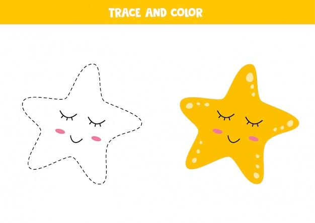 Traza y colorea la linda estrella de mar kawaii. habilidades de escritura.