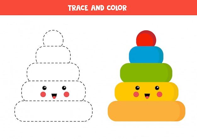 Traza y colorea la linda pirámide kawaii. juego educativo para niños.