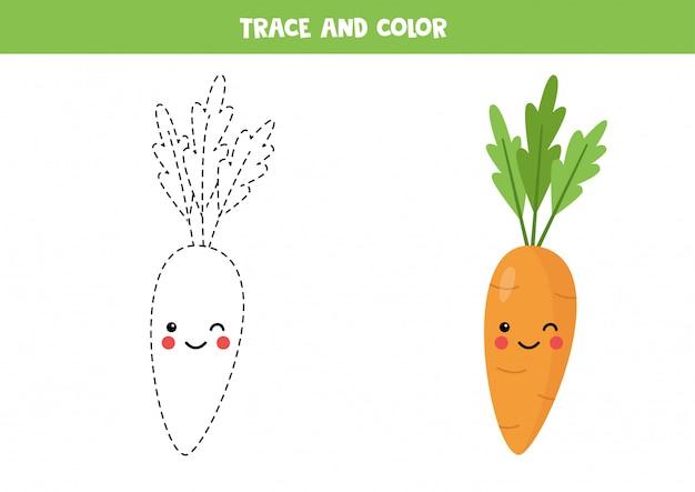 Traza y colorea la linda zanahoria kawaii. página para colorear para niños.