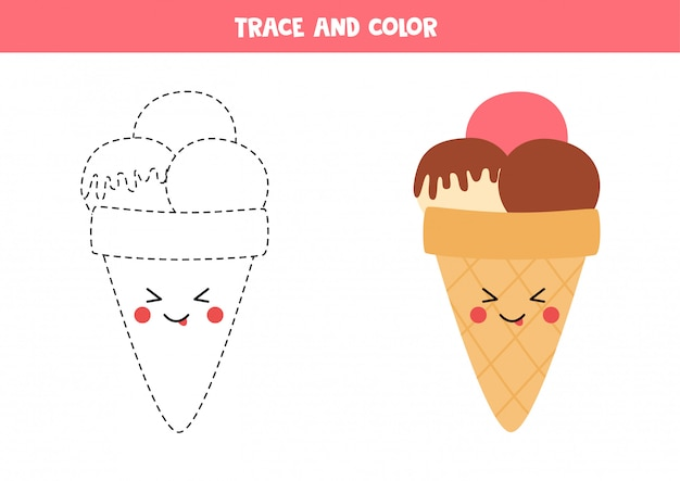 Traza y colorea el lindo helado kawaii. página para colorear para niños.