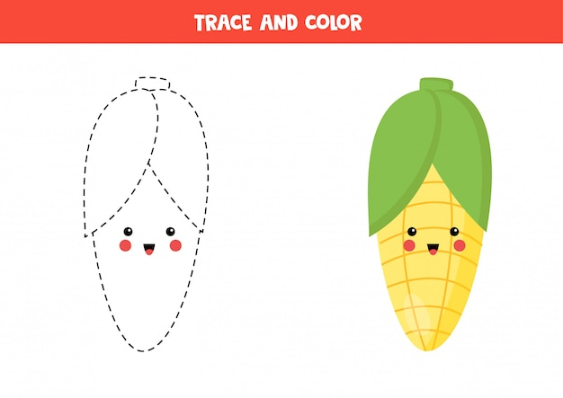 Traza y colorea el lindo maíz kawaii. página para colorear para niños.