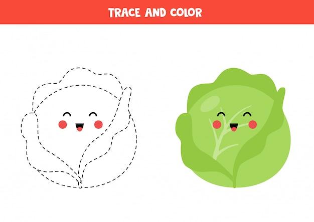 Traza y colorea el lindo repollo kawaii. página para colorear para niños.