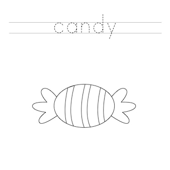 Traza las letras y colorea los dulces de halloween. práctica de escritura a mano para niños.