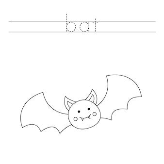 Traza las letras y colorea el murciélago. práctica de escritura a mano para niños.