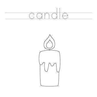Traza las letras y colorea la vela. práctica de escritura a mano para niños.