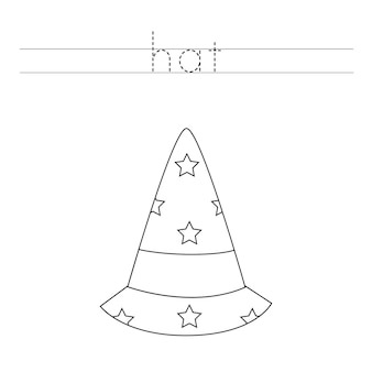 Traza las letras y el sombrero de mago de color. práctica de escritura a mano para niños.