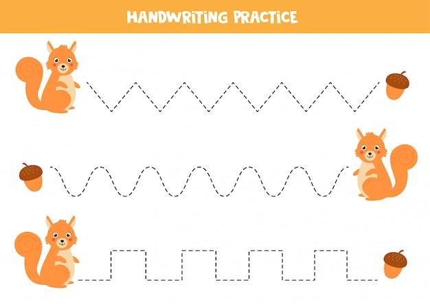 Traza las líneas con ardilla de dibujos animados lindo. juego para niños.