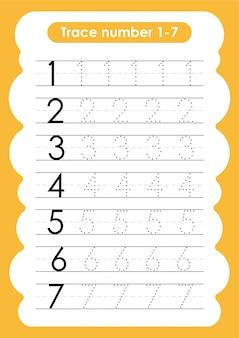 Traza número 1 a 7 - para niños de jardín de infantes y preescolar