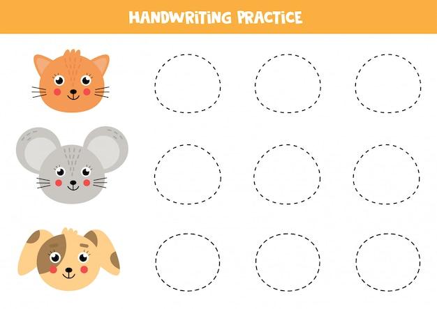Traza el ratón, el gato y el perro. práctica de escritura para niños.