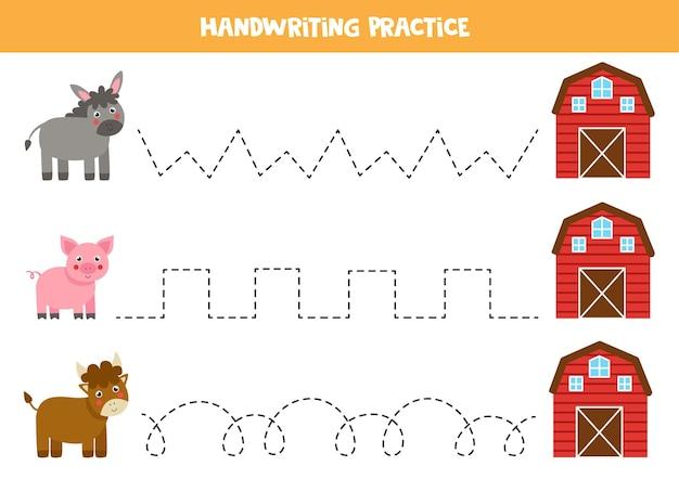 Trazado de líneas para niños con lindo burro, toro y cerdo que van a la casa de campo.