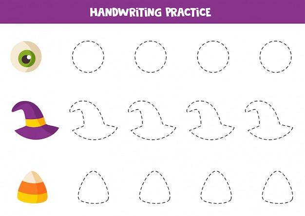 Trazando contornos con elementos espeluznantes de halloween. juego para niños.
