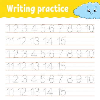 Trazar y escribir. práctica de escritura a mano. aprendizaje de números para niños. hoja de trabajo de desarrollo educativo.