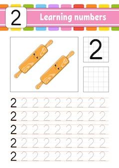 Trazar y escribir. práctica de escritura a mano. aprendizaje de números para niños.