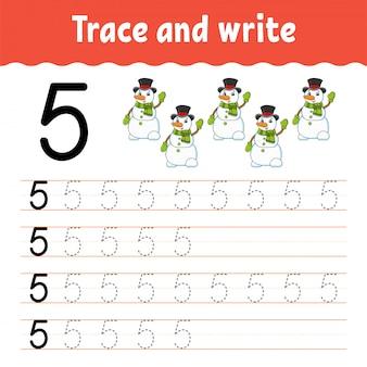 Trazar y escribir. práctica de escritura a mano.