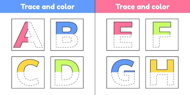 Trazar letras para niños de jardín de infantes y preescolar. escribe y colorea.