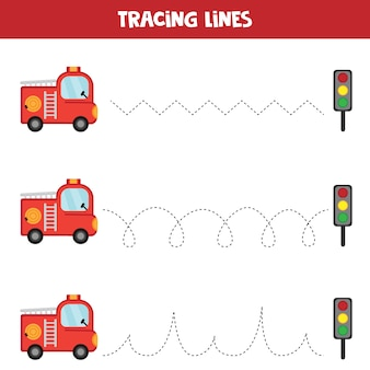 Trazar líneas con camión de bomberos. hoja educativa para niños. práctica de escritura a mano.