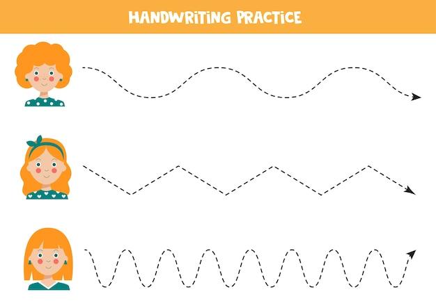 Trazar líneas con lindas chicas pelirrojas práctica de escritura a mano para niños