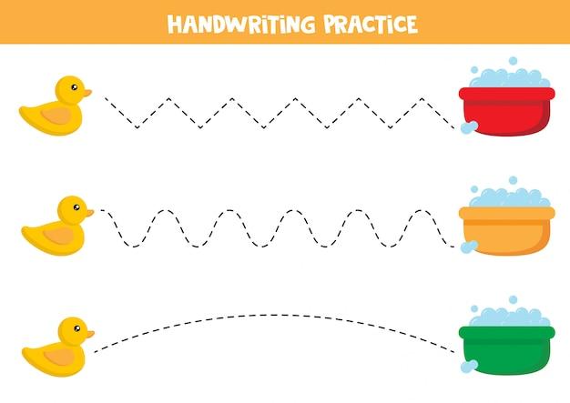 Trazar líneas con patos de juguete y cuencas de agua.