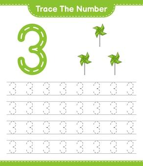 Trazar el número trazar el número con molinetes hoja de trabajo imprimible del juego educativo para niños