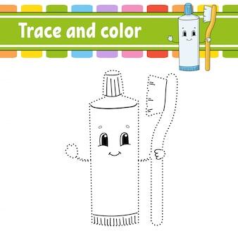 Trazo y color. página para colorear para niños.
