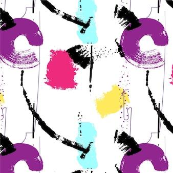 Trazo de pincel abstracto patrón de pintura púrpura y rosa