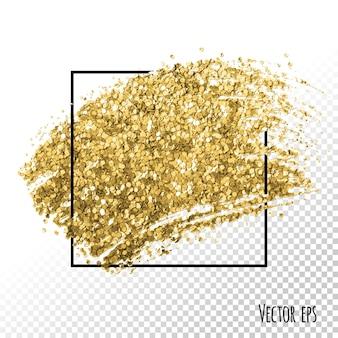 Trazo de pincel de brillo dorado. diseño de tarjeta fondo de plantilla de marco cuadrado de redes de medios sociales. mancha de papel dorado.