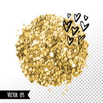 Trazo de pincel de brillo dorado. tarjeta de corazones fondo de plantilla de marco cuadrado de redes de medios sociales. mancha de papel dorado.