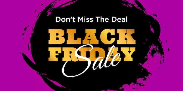 Trazo de pincel de diseño de banner de venta de viernes negro de texto dorado