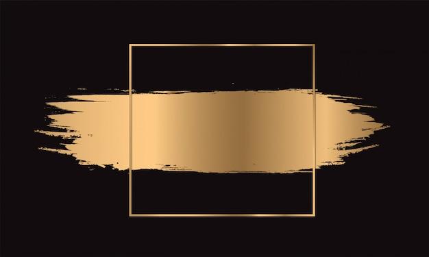 Trazo de pincel dorado con marco dorado